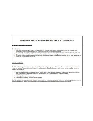 triple bottom line analysis tool sample