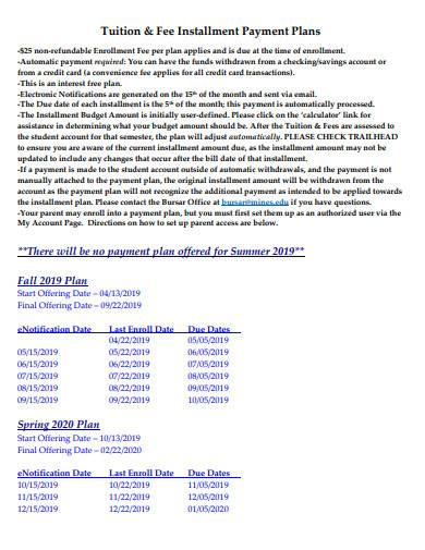 tuition and fee installment payment plans