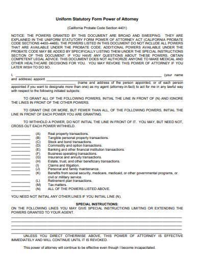 uniform statutory form power of attorney