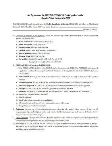untitformal retail vendor agreement templateled