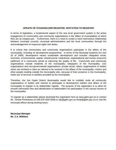 update of stakeholder register