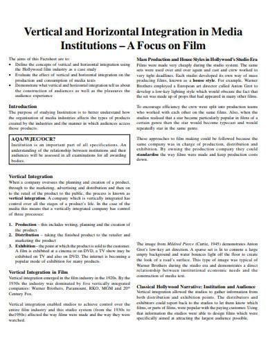 vertical and horizontal integration in media institutions