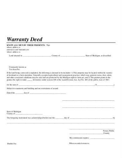 warranty deed sample template in pdf