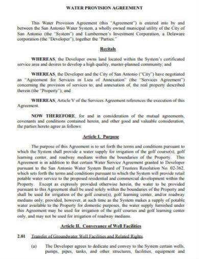 water provision agreement sample in pdf