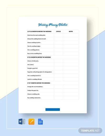 wedding planning checklist template