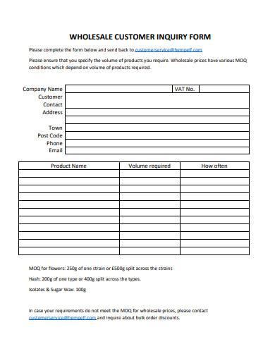 wholesale customer inquiry form