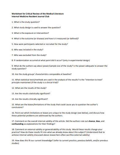 worksheet for critical review of the medical literature