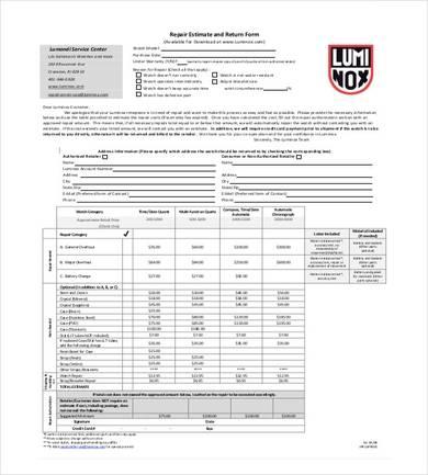 wristwatch repair estimate and return form sample