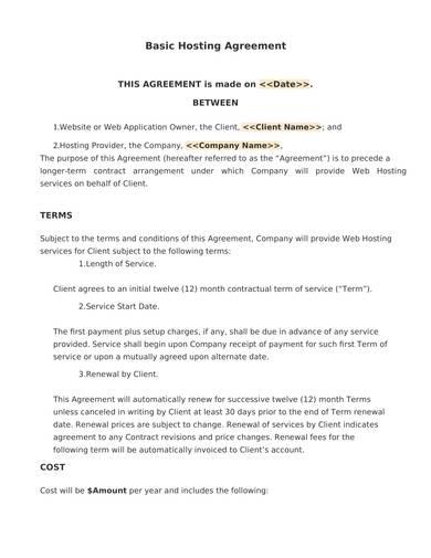 sample basic hosting agreement