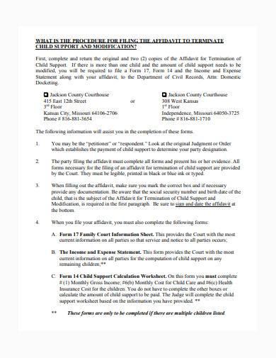 affidavit for termination of child support