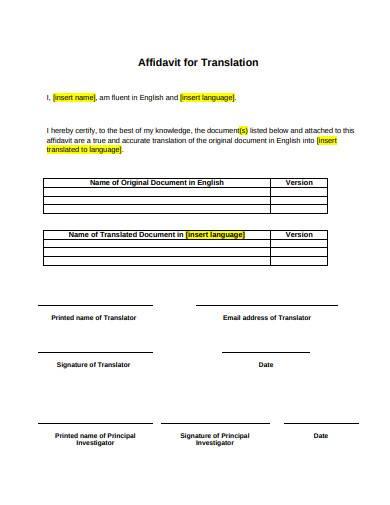 affidavit for translation