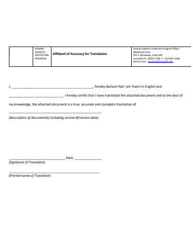 affidavit of accuracy for translation