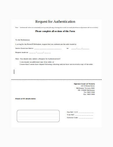 authentication request in doc