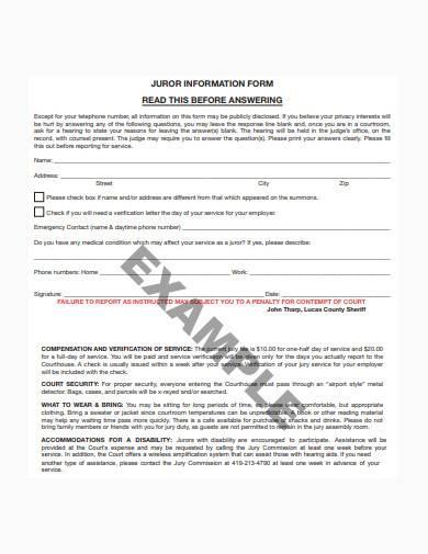 basic juror information form example