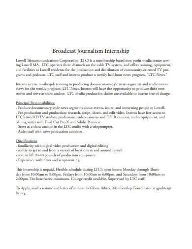 broadcast journalism internship