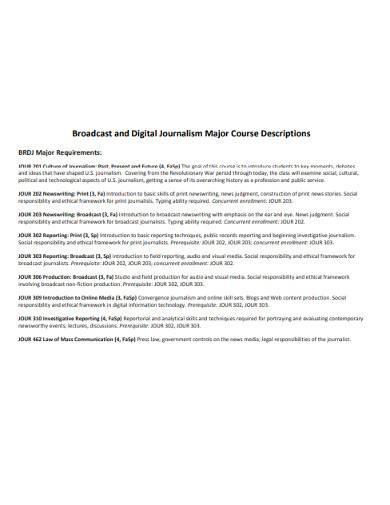 broadcast and digital journalism major course descriptions