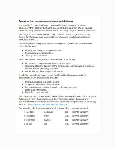 cancer services co management agreement1