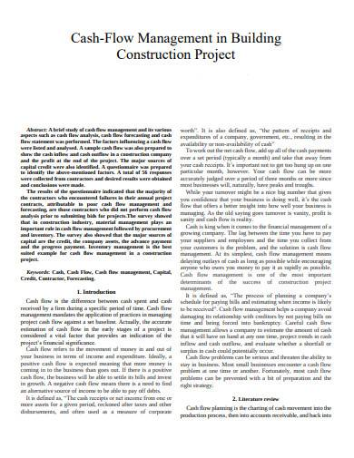 cash flow management in building construction project