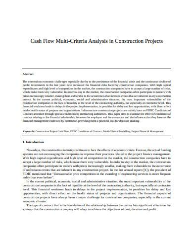 cash flow multi criteria analysis in construction projects