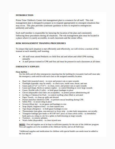 child care risk management plan sample