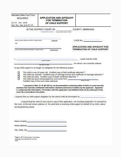 child support termination application form