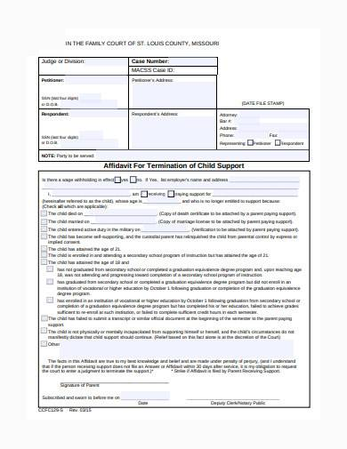 child support termination in pdf