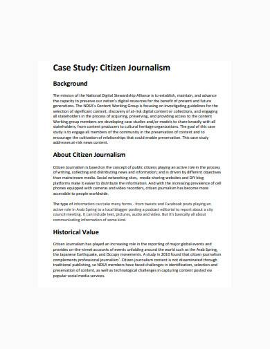 citizen journalism case study sample