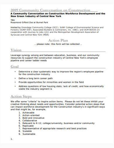 construction action plan template