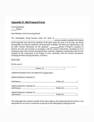 construction bid proposal form example