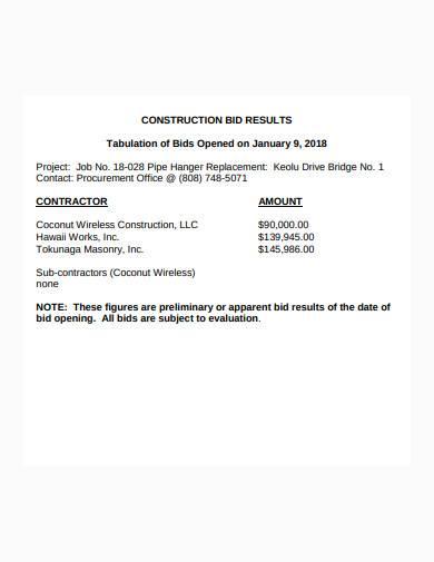 construction bid result template