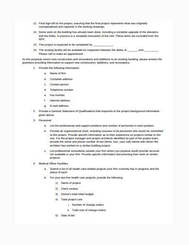 construction business proposal request template