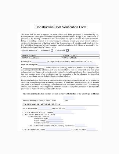 construction cost verification form sample