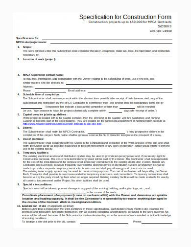construction form in doc