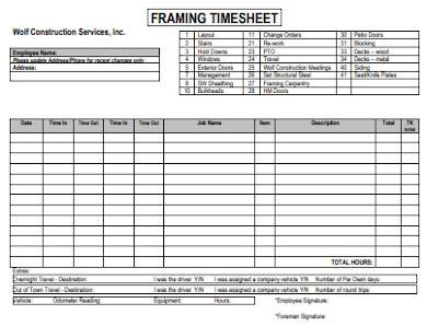 construction framing timesheet
