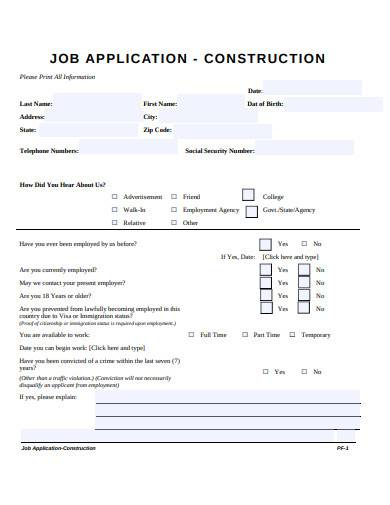construction job application