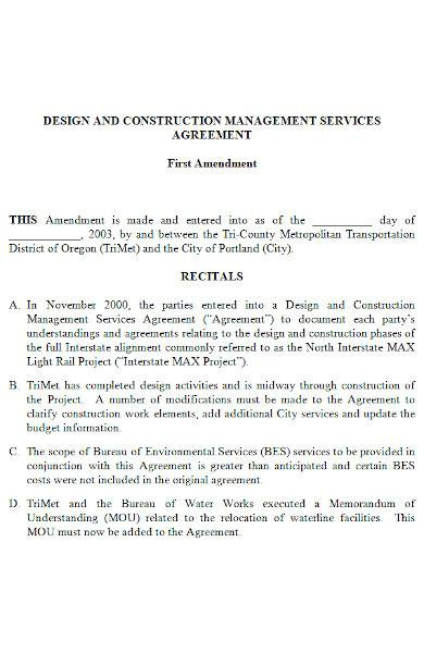 construction management agreement in ms word