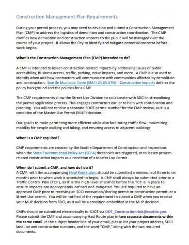 construction management plan requirements
