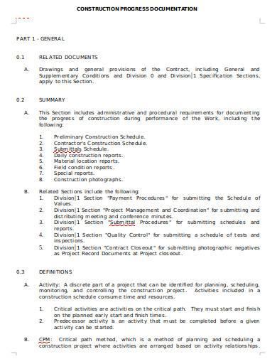 construction progress documentation report