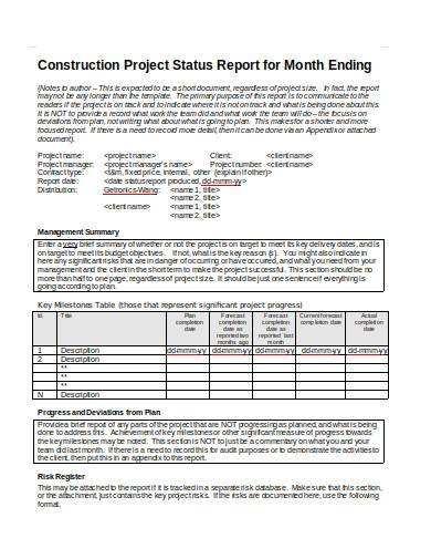 construction project status report for month ending