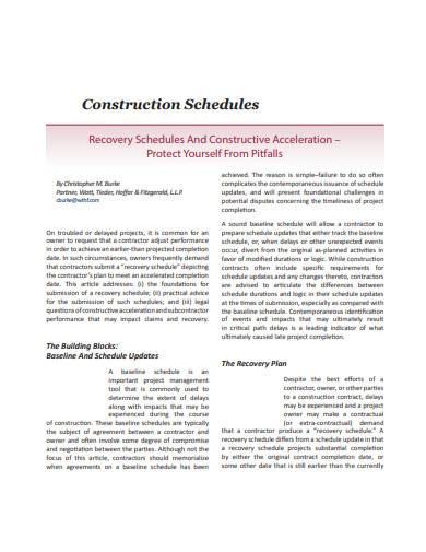 construction work schedules