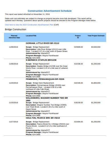 construction work advertisement schedule