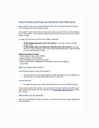 court costs waiver sample