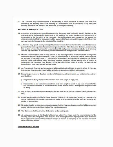 court standing order template
