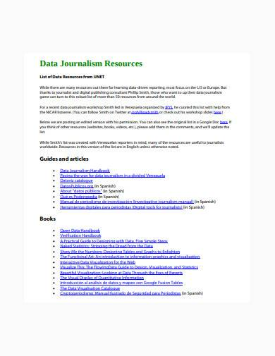 data journalism resource template