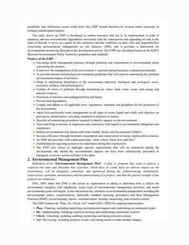 developing environmental management plan