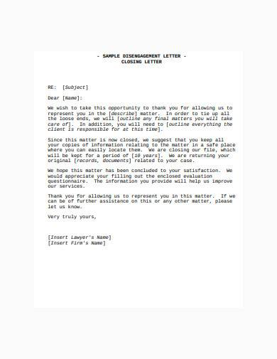 disengagement closing letter template