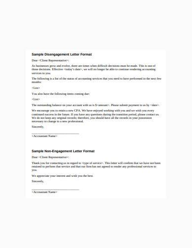 disengagement letter format sample