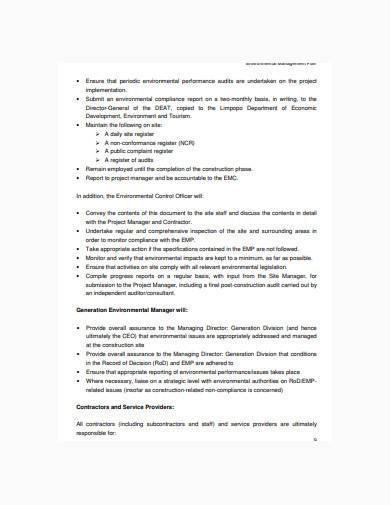 draft environmental management plan sample