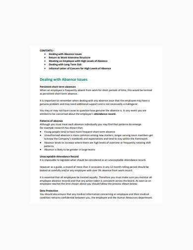 employee absence record in pdf