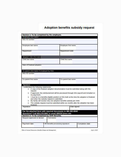 employee adoption benefits subsidy request